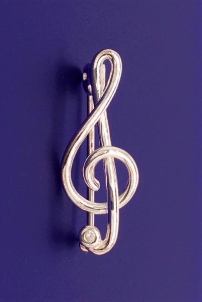 Violinschlüssel mit Zirkonia als Brosche R. Frey Silber