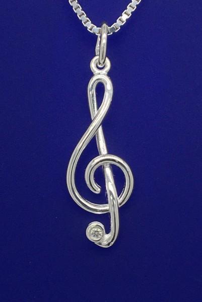 Violinschlüssel mit Zirkonia als Anhänger R. Frey Silber